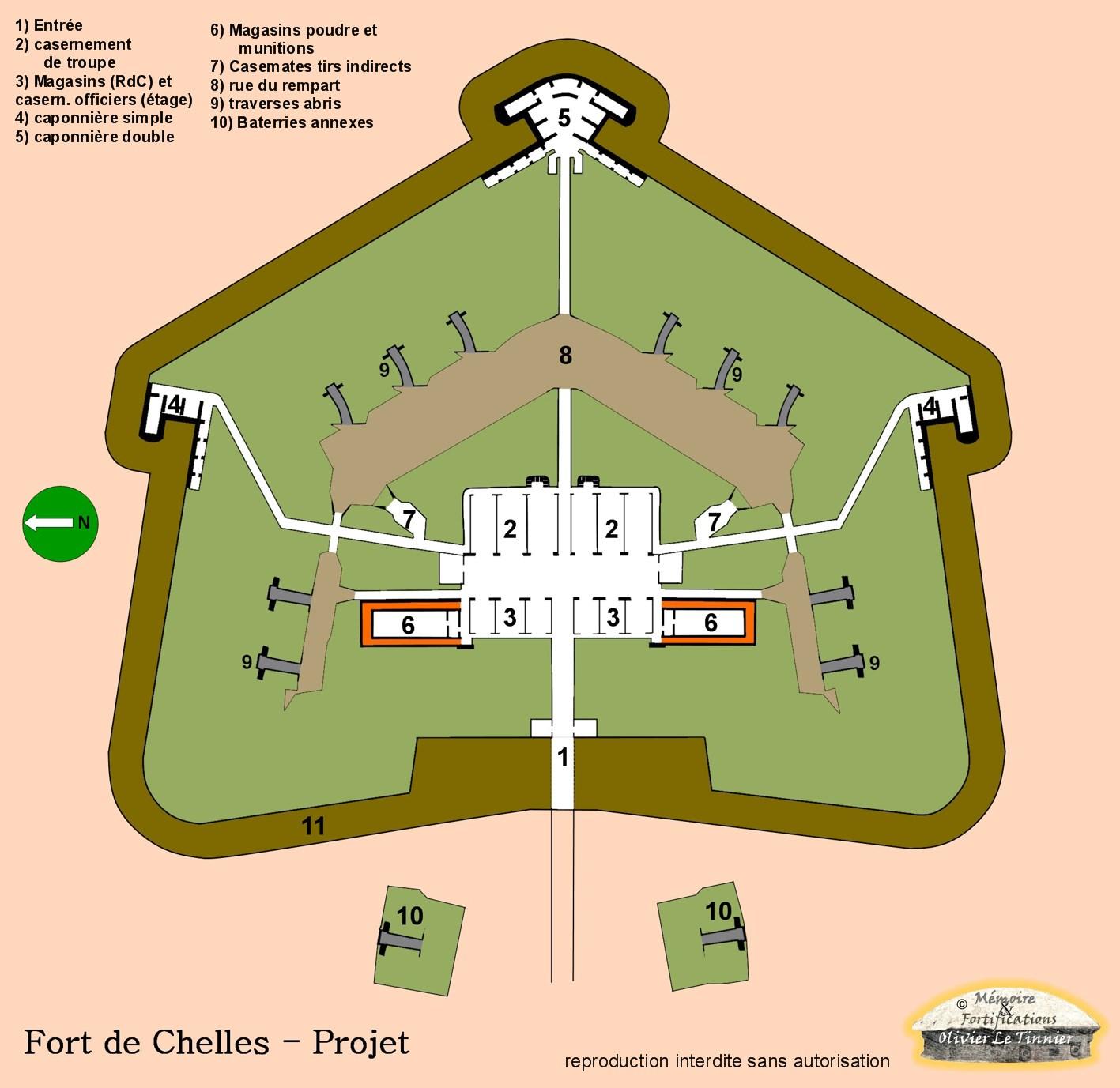 Le projet de fort de Chelles qui ne sera pas construit.