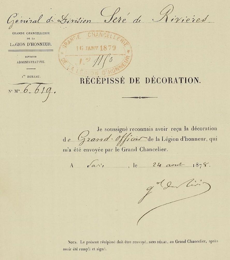 Récépissé signé de la main de Séré de Rivières lorsqu'il reçoit sa décoration de Grand-officier de la Légion d'honneur