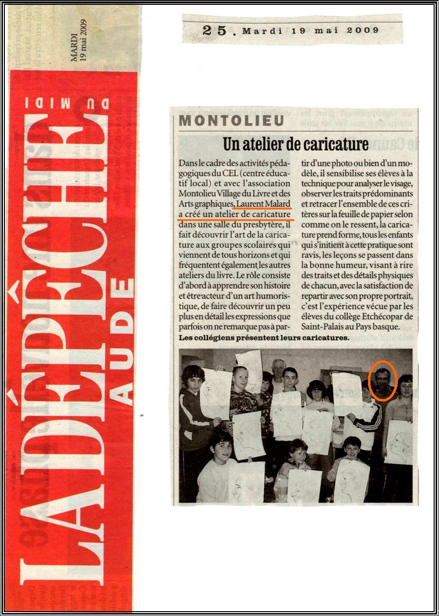 Montolieu, La Dépêche du Midi, 19 mai 2009.